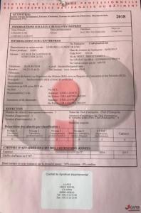 Diplômes et certificats de SARL Lemaire & Fils - Certificat d'identité professionnelle